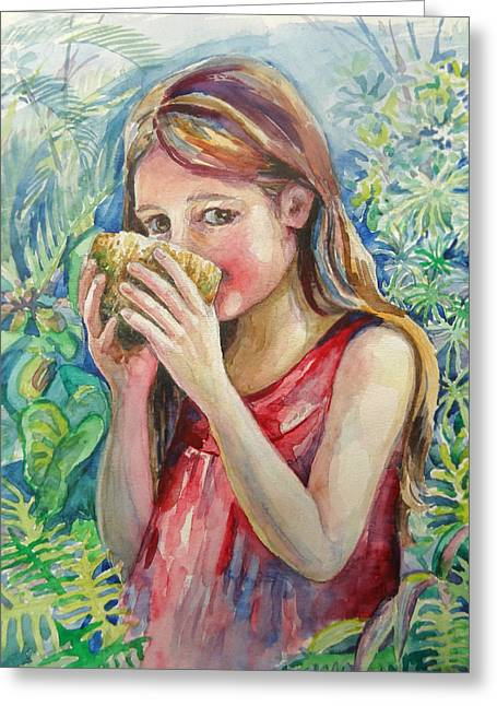 Girl And Coconut Greeting Card