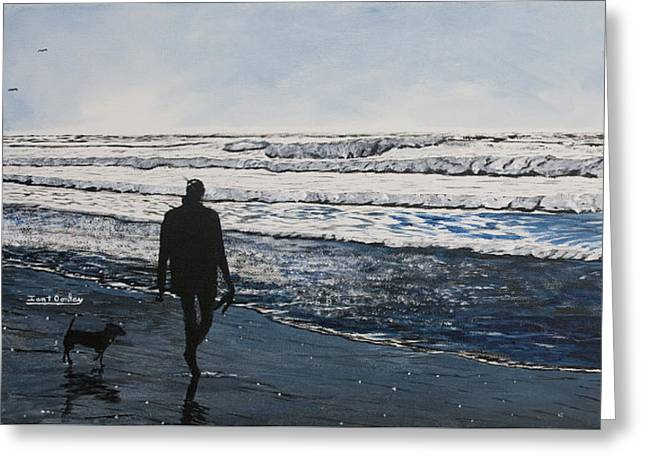 Girl And Dog Walking On The Beach Greeting Card
