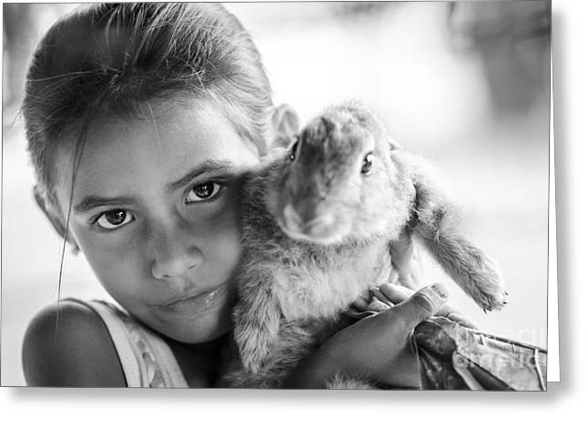 Girl And Her Lucky Bunny Greeting Card by Ning Mosberger-Tang