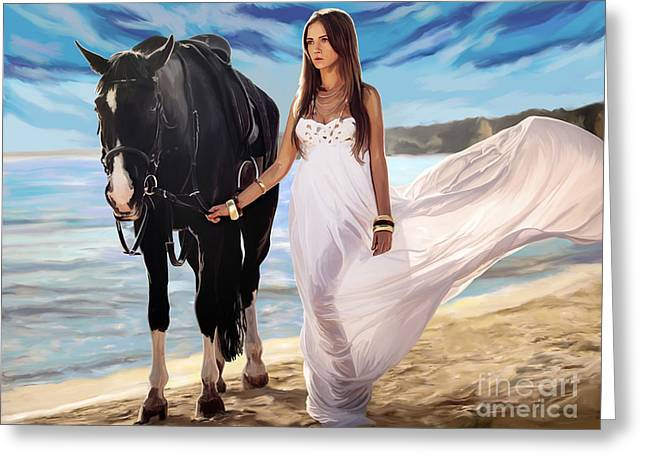Greeting Card featuring the painting Girl And Horse On Beach by Tim Gilliland
