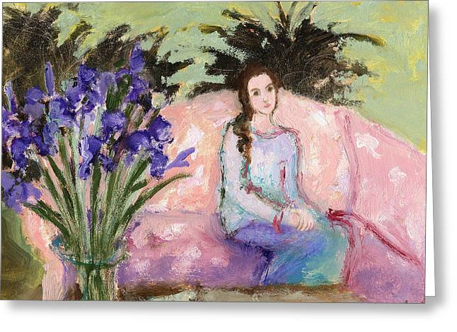 Girl And Iris Greeting Card