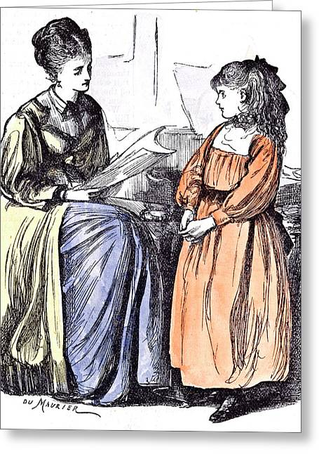 Girl And New Governess Du Maurier 1874 Britain Practice Greeting Card by English School