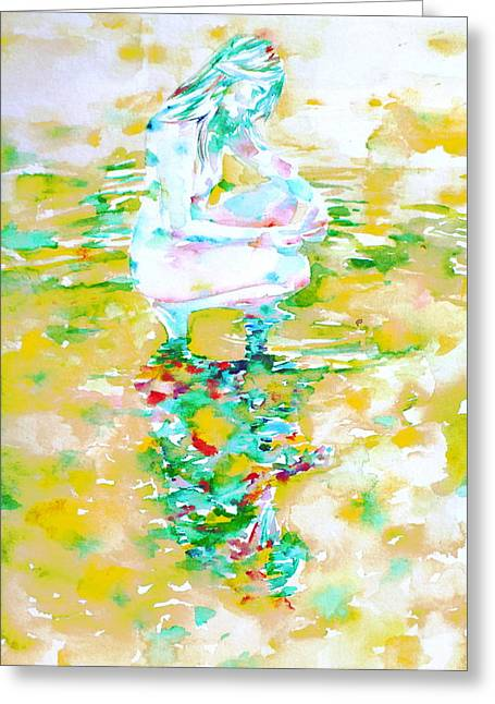 Girl And Reflection Greeting Card by Fabrizio Cassetta