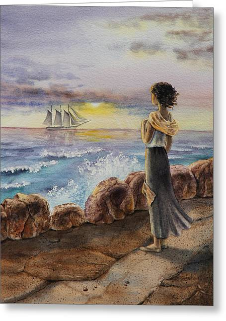 Girl And The Ocean Sailing Ship Greeting Card by Irina Sztukowski