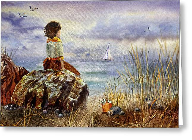 Girl And The Ocean Sitting On The Rock Greeting Card