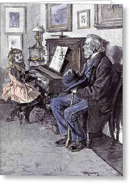Girl At The Piano In 1891 Grandfather Old Man Hat Walking Greeting Card by English School