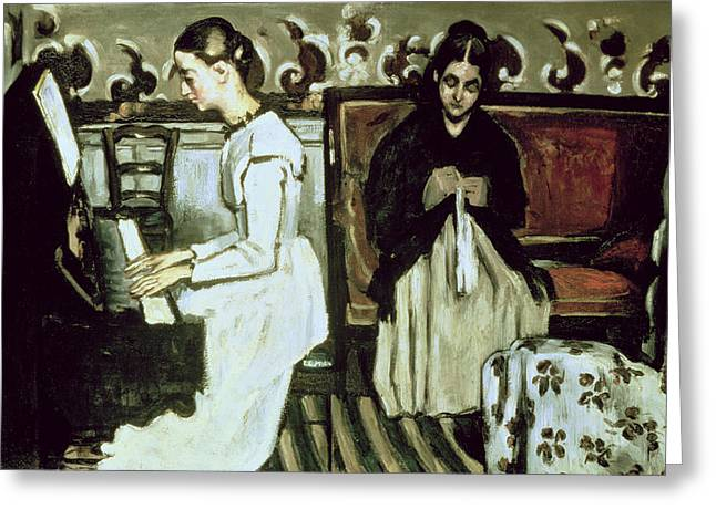 Girl At The Piano Overture To Tannhauser, 1868-69 Oil On Canvas Greeting Card by Paul Cezanne