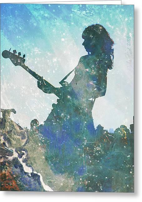 Girl Band Guitarist Greeting Card by John Fish