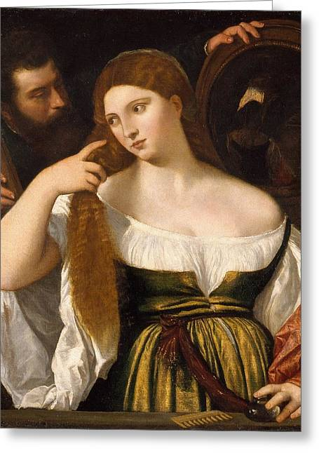 Girl Before The Mirror Greeting Card by Titian