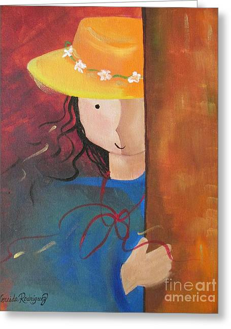Greeting Card featuring the painting Girl Behind The Door by Nereida Rodriguez