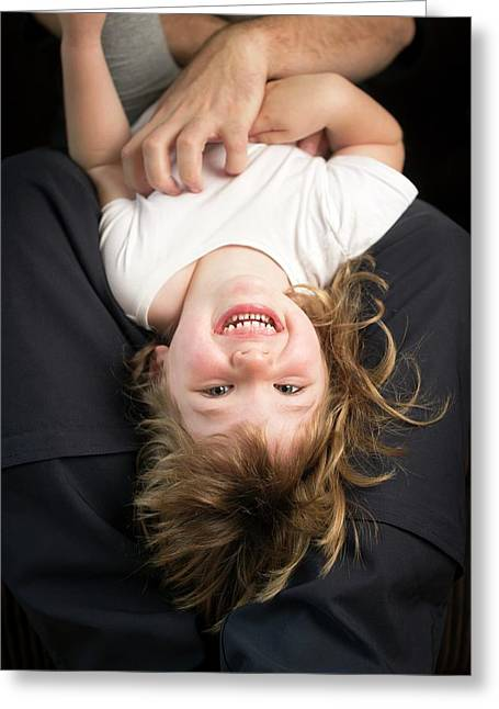 Girl Being Tickled Greeting Card
