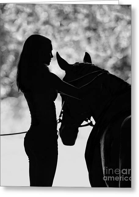 Girl Braiding Her Horse Greeting Card by Carol Walker