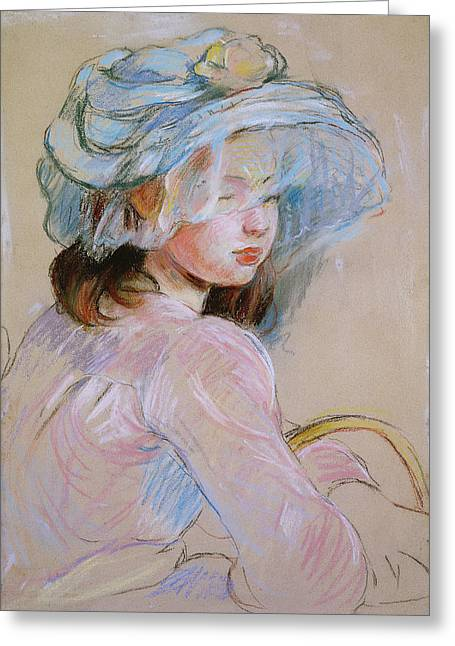 Girl Carrying A Basket Greeting Card by Berthe Morisot