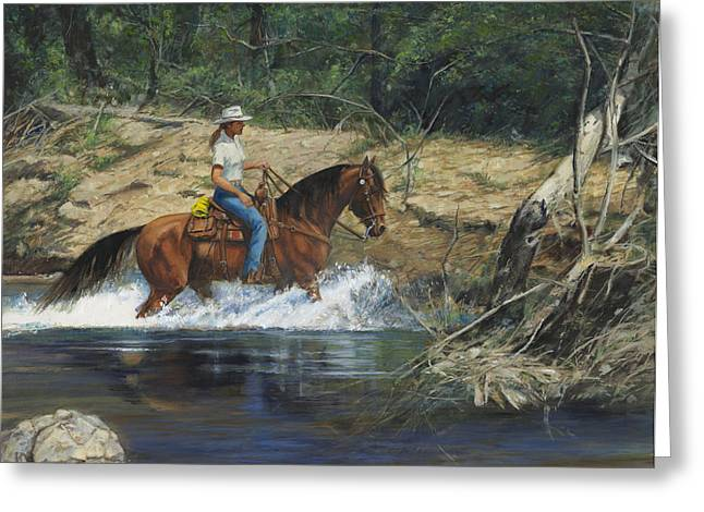 Girl Crossing Big Creek Greeting Card by Don  Langeneckert