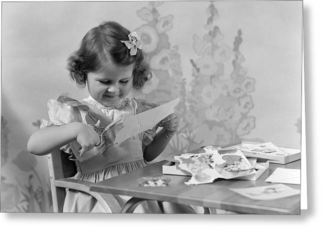 Girl Cutting Paper, C.1940s Greeting Card by H. Armstrong Roberts/ClassicStock