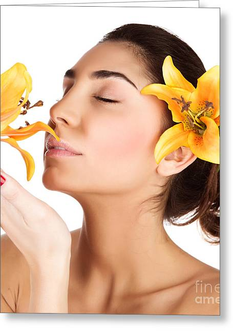 Girl Enjoy Lily Flower Smell Greeting Card by Anna Om