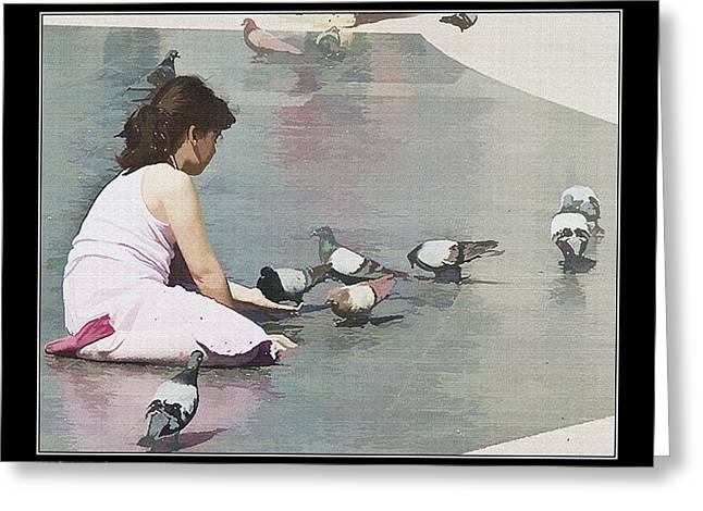 Girl Feeding Pigeons Greeting Card by Pedro L Gili