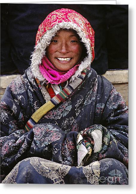Girl From Amdo - Tibet Greeting Card by Craig Lovell