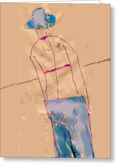 Girl From The Back Greeting Card by Margie Lee