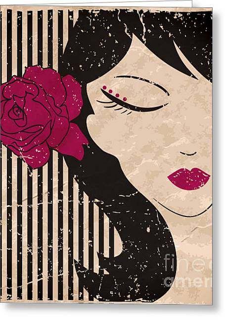 Girl Head With Flower. Vector Greeting Card