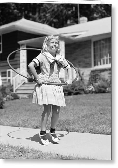 Girl Hula-hooping, C.1950s Greeting Card