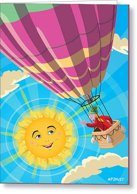 Girl In A Balloon Greeting A Happy Sun Greeting Card by Martin Davey
