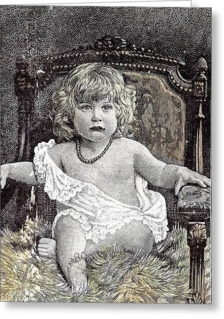 Girl In A Chair Hackney London 1892 Childhood At Home Greeting Card