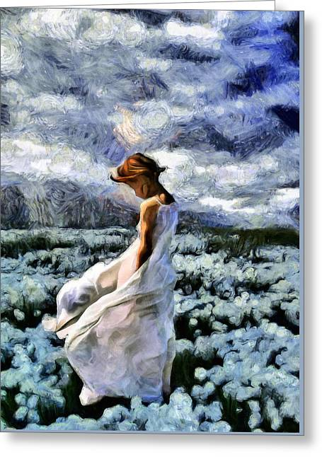 Girl In A Cotton Field Greeting Card by Georgiana Romanovna