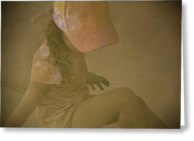 Girl In A Dust Storm Greeting Card by Debbie Cundy