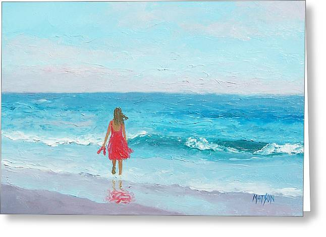 Girl In A Red Dress Greeting Card by Jan Matson