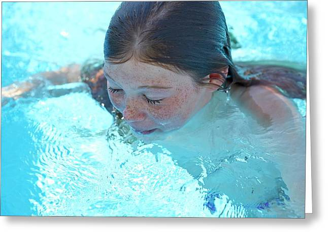 Girl In A Swimming Pool Greeting Card by Ruth Jenkinson