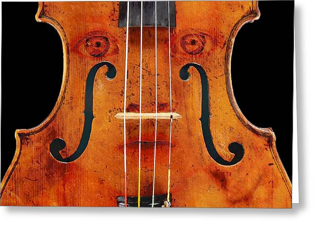 Girl In A Violin Greeting Card by David Blank