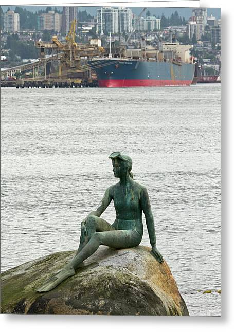 Girl In A Wetsuit Statue, Stanley Park Greeting Card