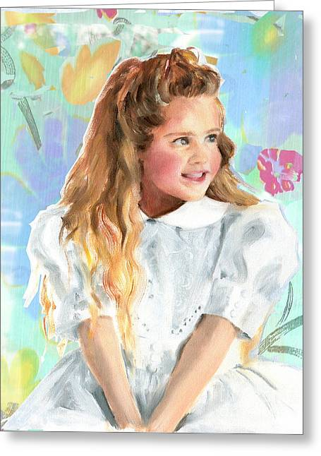 Girl In A White Lace Dress  Greeting Card