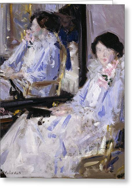 Girl In Blue Greeting Card by Francis Campbell Boileau Cadell