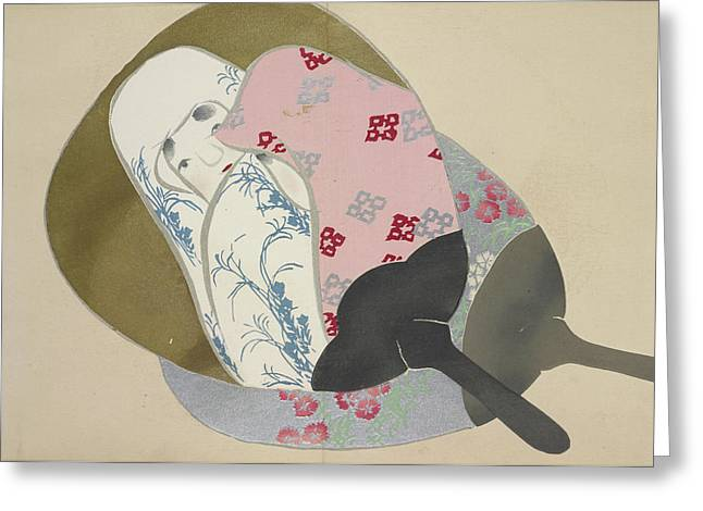 Girl In Fan, Kamisaka, Sekka, Artist, Date Issued 1909 Greeting Card by Artokoloro