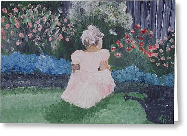Greeting Card featuring the painting Girl In Garden by Angela Stout