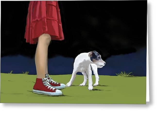 Girl In Red Skirt Greeting Card
