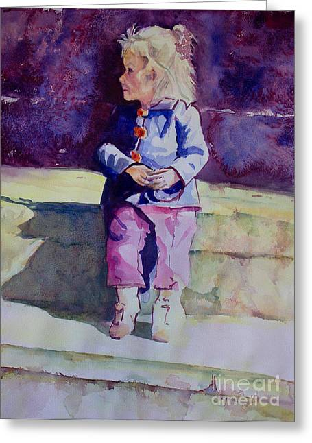 Girl In The Blue Jacket Greeting Card by Janet Felts