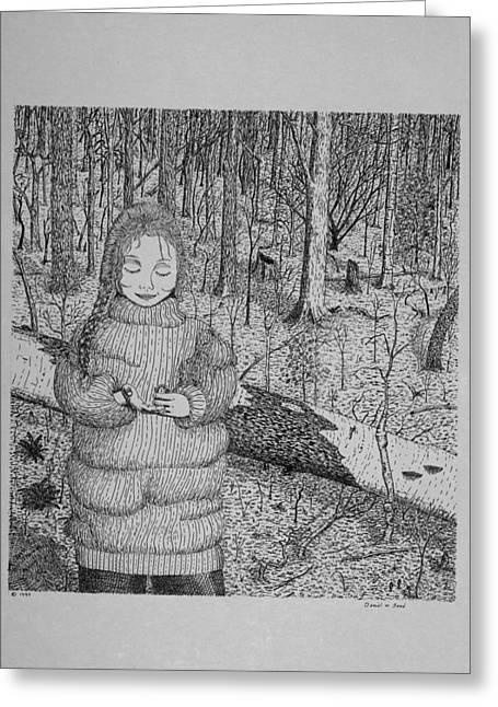 Greeting Card featuring the drawing Girl In The Forest by Daniel Reed