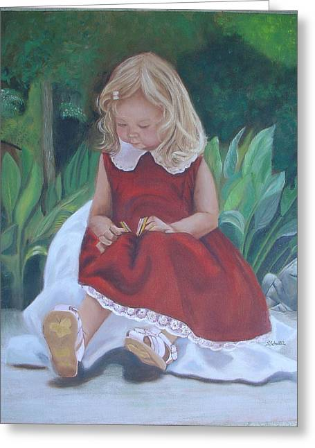 Girl In The Garden Greeting Card