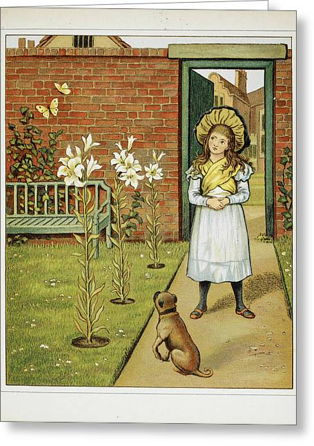 Girl In The Garden With Dog Greeting Card