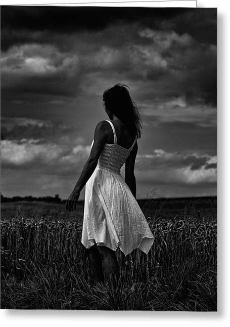 Girl In The Grain Field Greeting Card