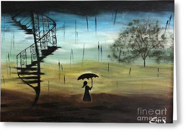 Girl In The Rain Greeting Card by Emily Marie