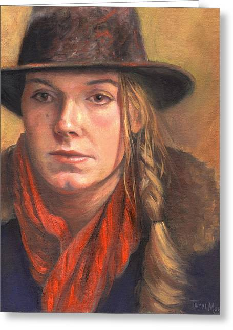 Girl In The Red Scarf Greeting Card by Terri  Meyer