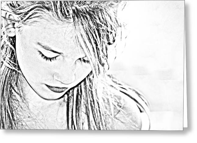 Girl In Thought Contour  Greeting Card by Kelly Hazel