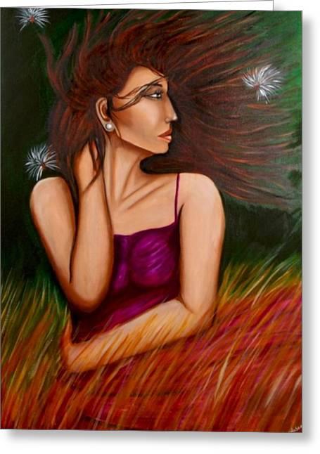 Girl In Wind Greeting Card