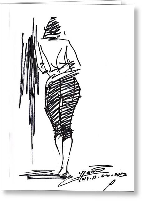 Girl Leaning Against Wall Greeting Card by Ylli Haruni