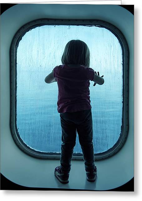 Girl Looking Through The Glass Greeting Card