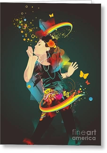 Girl Making Soap Bubbles,rainbow And Greeting Card